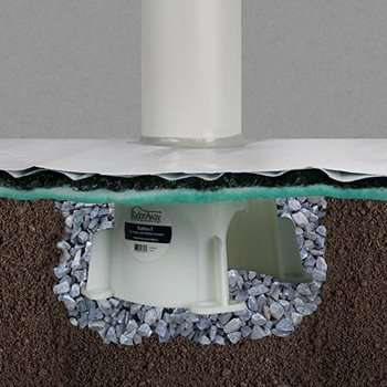 Radon pipe fixed in a radon tee with vapor matting. This is what a radon system looks like underneath a slab.